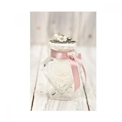 Heart jar 100ml with metallic motif
