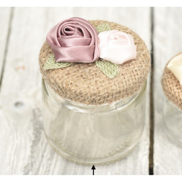 100ml jar with burlap and fabric flowers
