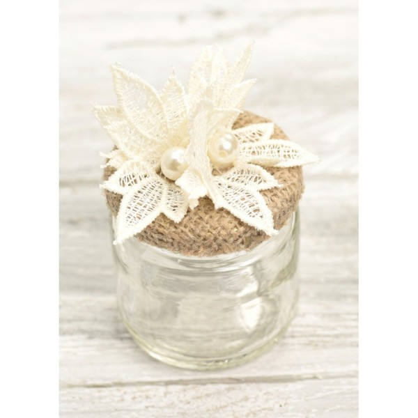 Jar 100ml with burlap lace and pearl