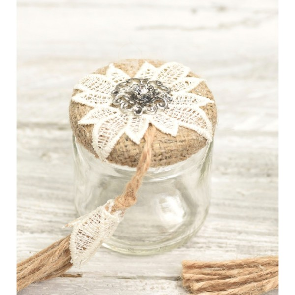 Jar 100ml with burlap lace and metal motifs