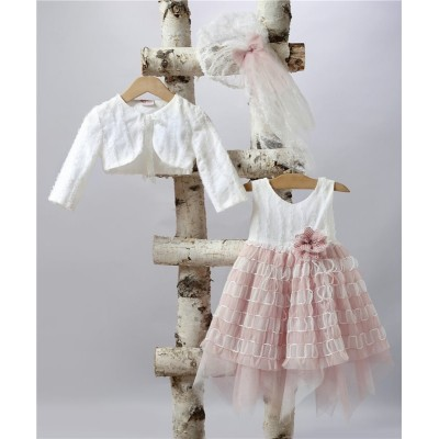2504-2 Tulle skirt, tulle bodice decorated with lace flower.