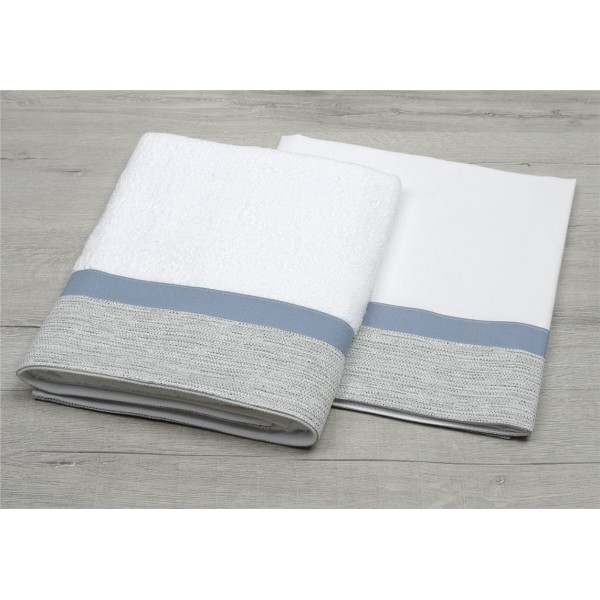 White oilcloth with gray and seam