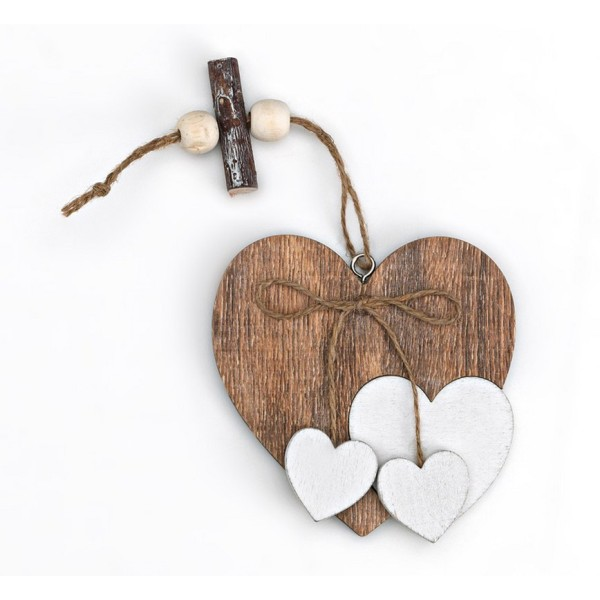 Heart Wooden Hanging Coffee Favor with White Hearts