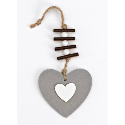 Heart Wooden Favor Gray Hanging Gray with White Double