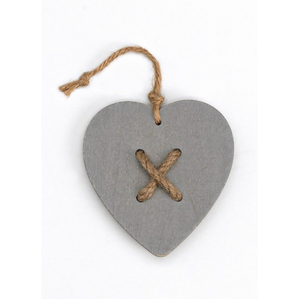 Heart Hanging Gray Wooden Favor with Twine in the Middle