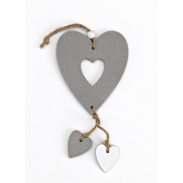 Heart Wooden Favor Favorable Gray with Blank