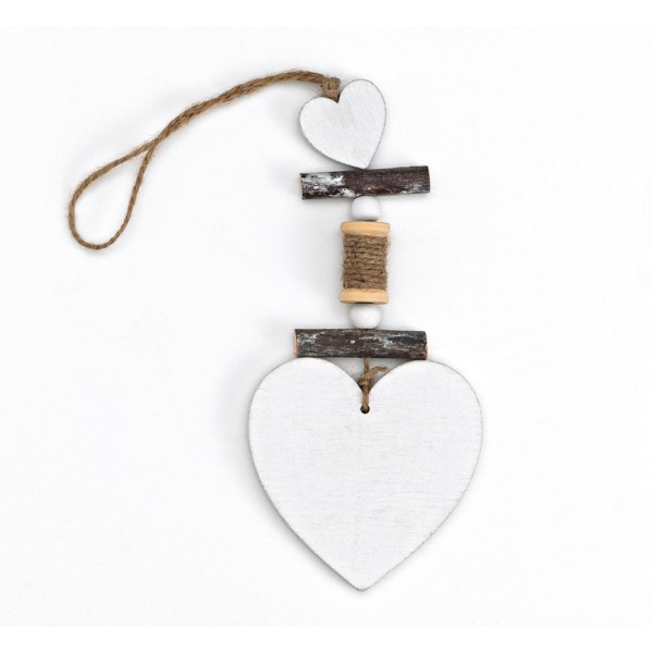 Heart Wooden Pendant Favor White with Heart