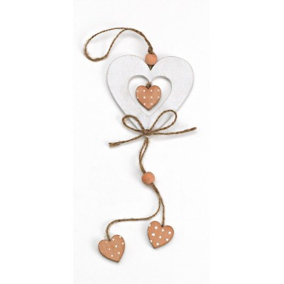 Heart Wooden Pendant Favor White with Polka Dots Hearts