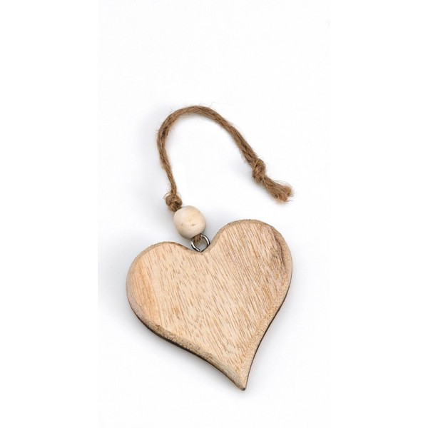 Heart Wooden Favored Brown Favor with Bead