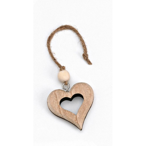 Heart Wooden Favor Brown Hanging Coffee with Blank