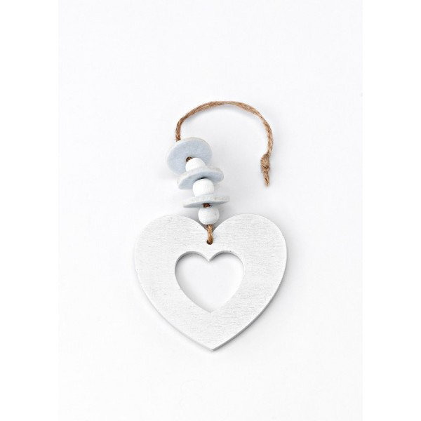 Heart White Color Wooden Pendant with Beads