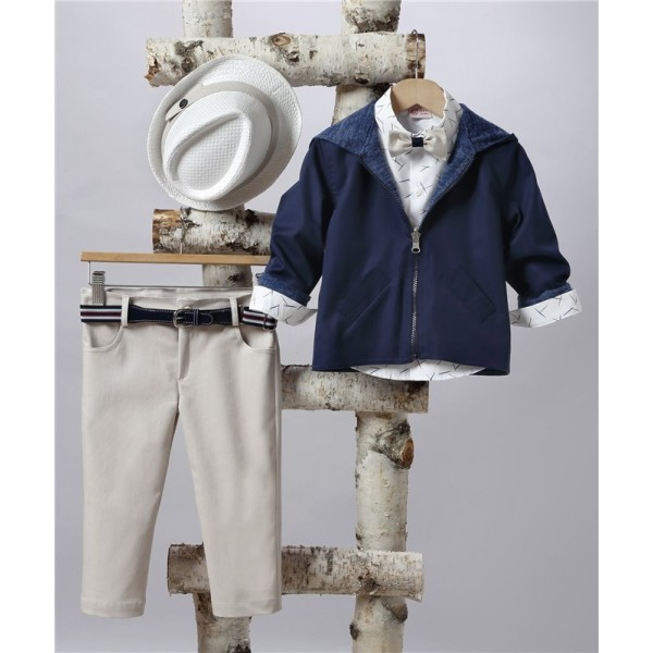 2503-1 Curtain trousers, cotton shirt and double-breasted jacket