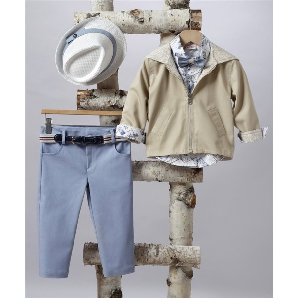 2503-2 Curtain pants, cotton shirt and double-breasted jacket