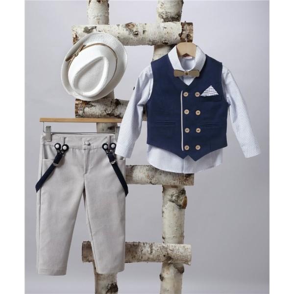 2505-2 Turtleneck pants, cotton shirt and turtleneck vest.