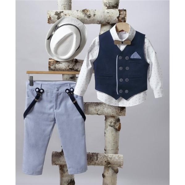 2505-3 Turtleneck pants, cotton shirt and turtleneck vest.