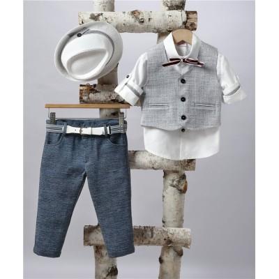 2507-3 Turtleneck pants, cotton shirt and turtleneck vest.