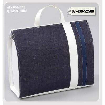 LEATHER ZIPPER Bag Linenza BLUE